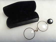Vtg Wire Rim Round Eye Glasses With Retractable Chain On A Pin In Original Case