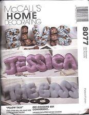 8077 UNCUT Vintage McCalls Sewing Pattern Easy Alphabet ABC Pillows Craft Decor