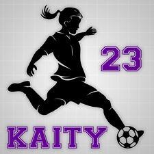 Soccer girl wall decal,futbol kicker wall sticker soccer silhouette name decal