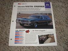 USA 1972 Oldsmobile Vista Cruiser Hot Haulers Group 6 # 28 Spec Sheet Brochure