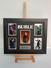 UNIQUE PROFESSIONALLY FRAMED, SIGNED MICHAEL BUBLE PHOTO COLLAGE WITH PLAQUE.