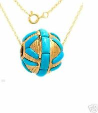 "Genuine Turquoise 14K Yellow Gold Pendant w/18"" Chain"