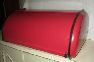 Rollup Metal Bread Box Retro Vintage Style Red With Black Accents