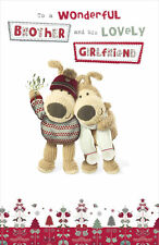 Boofle Brother & His Girlfriend Christmas Greeting Card Foiled Xmas Cards