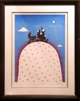 "Mackenzie Thorpe ""Family On A Hill"" H.Signed with black frame Make an Offer"