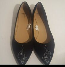 Baby Phat Woman's Size 8 Black Faux Suede Point Toe Flats Shoes