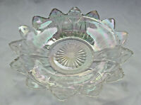 """Vintage Federal Iridescent Clear Glass Petal 8.75"""" Serving Candy Bowl Dish"""