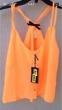 $40 NWT Ali & Kris Orange Button Down Adjustable Straps Crop Tank Top Size L