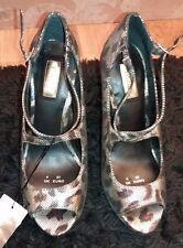 Star by Julien Macdonald Gold Animal Print High Heel Peeptoe Shoes Size 4