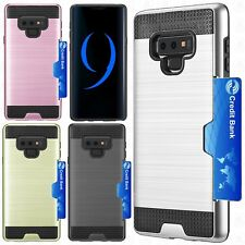 For Samsung Galaxy Note 9 Brushed Hybrid Card Case Phone Cover Accessory