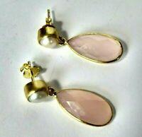 Calcedon rosa und Keshi Perlen Ohrringe, 925 Silber vergoldet