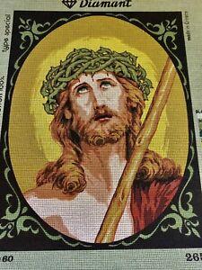 VINTAGE Unworked DIAMANT TAPESTRY CANVAS Made In Greece RELIGIOUS Jesus CATHOLIC