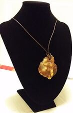 14gr VINTAGE BUTTERSCOTCH EGG YOLK HANDMADE AMBER PENDANT WITH LEATHER CHAIN