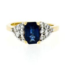 Estate 14k Yellow Gold 1.50ctw Emerald Cut Sapphire & Diamond Engagement Ring