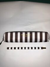 RARE HENRI BENDEL ICONIC STRIPED PEN WITH ZIP CASE POUCH BAG, BROWN, GOLD