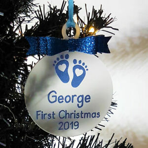 Babies First 1st Christmas Personalised Bauble Tree Decoration Baby Boy