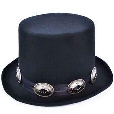Nuevo 80s Slash Victoriano Steampunk de eje de balancín Hebillas Sombrero Negro Fancy Dress