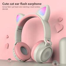 Gato Inalámbrico Bluetooth Auriculares Auriculares Estéreo Micrófono Luces LED teléfonos Kids