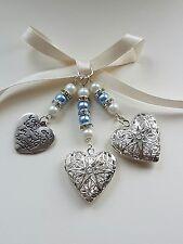 "Double Wedding Bouquet Photo Charm Heart Locket + ""always in my heart"" charm"