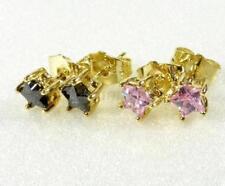 Pendientes de bisutería color principal rosa de oro amarillo circonita