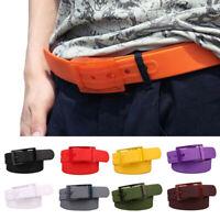 Men Women Candy Plain Silicone Belt Plastic Buckle Waistband Gift Adjustable