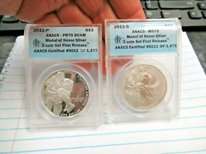 2011 P&S Medal of Honor Commemorative $1 ANACS PR70 MS70 2 Coin Set 1st Release
