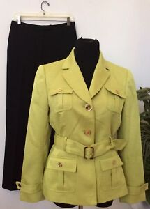 Tahari Women's Green Black Military Style 2 Piece Belted Pant Suit Size 10P EUC!