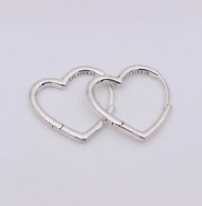 New Authentic PANDORA Small Asymmetrical Heart Hoop Earrings #298307C00 w/ Pouch