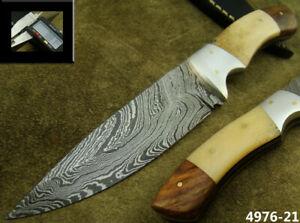 "ALISTAR 8"" HANDMADE DAMASCUS STEEL HUNTING BOWIE KNIFE W/SHEATH (4976-21"