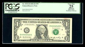 DBR 2006 $1 Binary 4/2 FRN Cleveland Fr. 1933-D PCGS App 25 Serial D44442422G