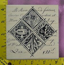 COLLAGE MIXED MEDIA DIAMOND keyhole script background rubber stamp