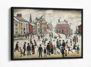 LS LOWRY, PEOPLE STANDING ABOUT -FLOAT EFFECT CANVAS WALL ART PIC PRINT- BEIGE