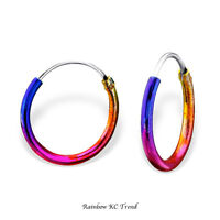 925 Sterling Silver Rainbow Sleeper Hoop Earrings Kids Girls 12mm Jewellery Gift