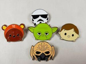 Official Disney Trading Pin Lot STAR WARS Tsum Tsum Luke, Yoda, Ewok, Plo Koon