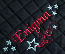 Personalised Embroidered Saddle Cloth with star swirl, 3 sizes, 9 colours,numnah