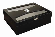 DELANO Glass Top Cigar HUMIDOR with Hygrometer and 2 Humidifiers - 100 Cigars