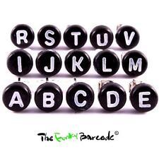 TFB - BLACK INITIAL LETTER STUD EARRING SINGLE Boys Mens Cool Retro Name Funky