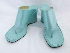 Loriblu Pastel Aqua Blue Platform Wedge Thong Sandal 37 Italy