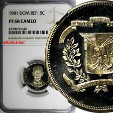 Dominican Republic PROOF 1981 5 Centavos NGC PF68 CAMEO TOP GRADED KM# 49