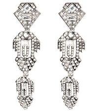 WHITE CLEAR DESIGNER CRYSTAL RHINESTONE Silver Art Deco Chandelier Drop Earrings