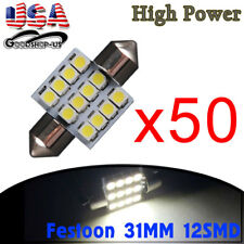 50X Super Bright White 31mm 12SMD Festoon LED Dome Map light Bulbs DE3175 3022