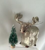 Vintage Retro Christmas Decoration Moose Reindeer Old Glass Xmas Tree Bauble