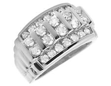 Mens 10K White Gold Real Diamond Engagement Channel Wedding Band Ring 2 CT 14MM