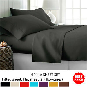 4 Pcs FLAT and FITTED Bed Sheet Set With Pillow Cases Single Double King SK UK