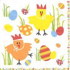 2 Serviettes en papier Pâques Poule Oeuf Decoupage Paper Napkins Easter