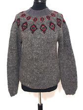 Island Norweger Damen Strick Pullover Grösse S Schurwolle Handarbeit J229