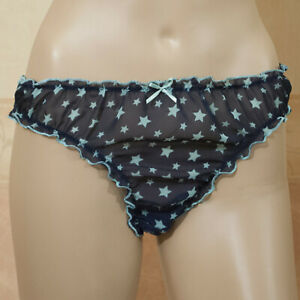 KNICKERS PANTIES THONG FRILLY BLUE MESH SIZE 12