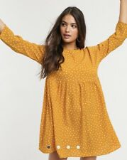 Vintage Asos Dress/tunic Polka Dot Mustard Size 10