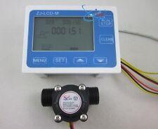 "G1/2"" Flow Water Sensor Meter+Digital LCD Display Quantitative Control 1-30L/min"