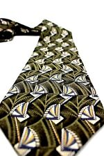 Henry Grethel necktie Green with ivory geometric pattern 100% Silk made in USA